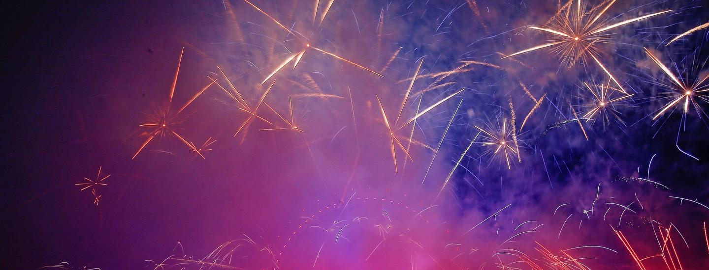 Fireworks explode over the London